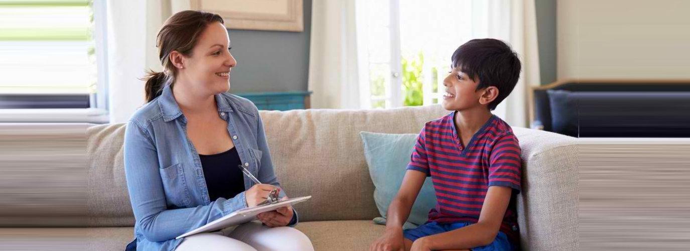 kid talking to a therapist
